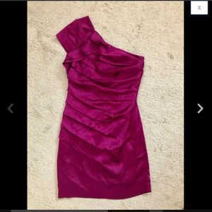 Fuchsia Satin One Shoulder Ruffle Ruched Dress S 4